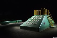 The Park Playground Tumblr features Kito Fujio's gorgeous, dramatically lit photos of Japan's whimsical playground equipment: climbers, slides and other fun stuff styled to look like an…