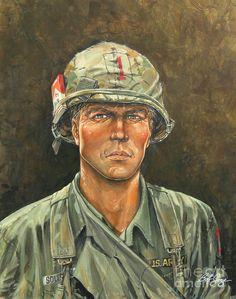 Combat Art Painting - Big Red One 11bravo by Bob  George