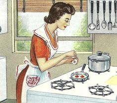 is at the stove, dressed and looking great as she awaits service of breakfast to her man? No wonder my ex- mother-in-law thinks women were put on earth to serve men. Images Vintage, Vintage Love, Vintage Pictures, Vintage Advertisements, Vintage Ads, Vintage Housewife, 50s Housewife, Vintage Baking, Vintage Kitchen