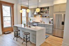 Brownstone Boys Herringbone Backsplash | Fireclay Tile | Fireclay Tile Brooklyn Kitchen, Fireclay Tile, Shaker Style Kitchens, Herringbone Backsplash, Hacks, Style Tile, Kitchen Cabinetry, Farmhouse Cabinets, Kitchen On A Budget