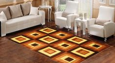 BuildDirect – Area Rugs - Abstract Collection – Dark Brown Squares - Living Room View