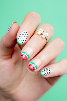 Watermelon Nail Art by @SoNailicious or Day 2 of #NAFW2015. All details: http://sonailicious.com/watermelon-nails-sophia-webster/