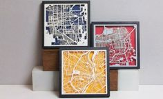 City maps artfully transformed into  contemporary works of art.
