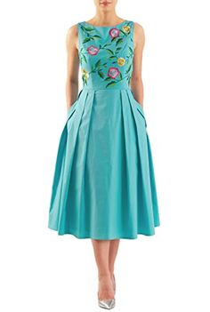 eshakti--Vibrant embellished florals amp up the sweet charm of our stretch cotton poplin dress in a flattering fit-and-flare style. Stylish Dresses, Cute Dresses, Beautiful Dresses, Casual Dresses, Short Dresses, Fashion Dresses, Women's Fashion, African Fashion, Dress Long