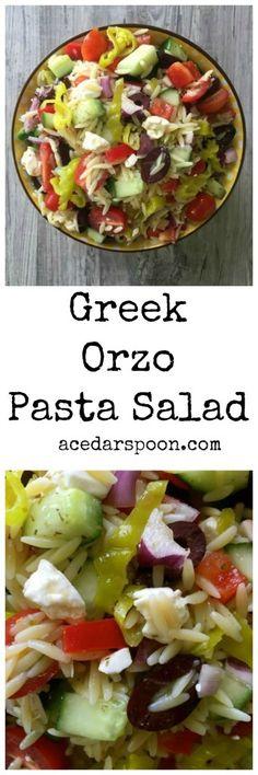 Greek Orzo Pasta Salad is a summer pasta salad mixing orzo, crisp vegetables, feta cheese and a light Greek dressing. // A Cedar Spoon