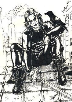 The Crow by yasinyayli Gothic Fantasy Art, Dark Fantasy, Crows Drawing, Crow Movie, Dark Drawings, Horror Artwork, Crow Art, Brandon Lee, The Crow