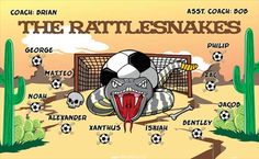 Rattlesnakes-44404  digitally printed vinyl soccer sports team banner. Made in the USA and shipped fast by BannersUSA. www.bannersusa.com