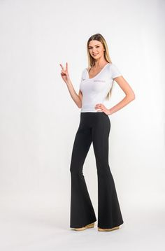 Diane Chillout Bell Bottoms. Black bell pants with elastic waistline and high waisted. Made with Love in Poland. Shop anywhere, ship everywhere - WORLDWIDE SHIPPING !!! WWW.BOHOGINI.COM