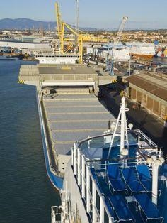 Cargo Ship in the Port of Livorno, Tuscany, Italy