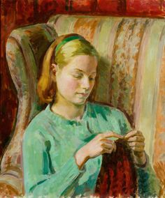 Girl Knitting, Portrait of Felicia, the Artist's Younger Daughter by Henry Lamb