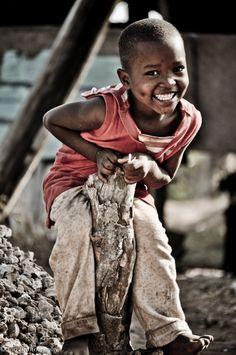 Little boy playing in Mombasa. Happy kid!
