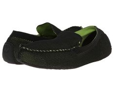 ISOTONER Signature Mesh Enginereed Driving Moc (Black/Green) Men's Slippers Men's Slippers, Green Man, Mesh, Loafers, Shoes, Black, Fashion, Travel Shoes, Moda