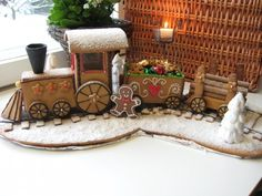 "I can use this in the more realistic area of my village. It will be less time-consuming than my ""Santa"" train. It has less cars, too! Gingerbread Train, Gingerbread Village, Christmas Gingerbread House, Christmas Train, Christmas Sweets, Christmas Cooking, Gingerbread Cookies, Candy Train, Ginger House"