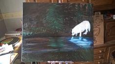 dark woods , white wolf   oil paint