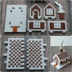 Tiny Gingerbread House Perler Hama Beads - Beadsmeetgeeks