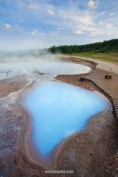 Geothermal pools close to Strokkur geyser, Haukadalur, Iceland.