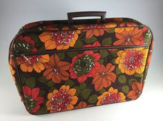 Vintage Orange Red Green Flower Power Canvas by LivingAVntgLife