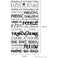 Samolepky na zeď - Pravidla dětského pokoje - Slovensky
