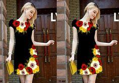 Đầm suông nền đen in hoa 3 màu  3D-MD1503 - Màu sắc:  nền đen in hoa  - Chất liệu: Thun Pháp ánh kim - Kích thước: S, M, L, XL