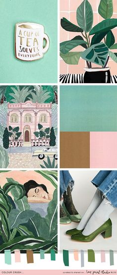 Mint green and pink color palette inspiration Colour Schemes, Color Patterns, Color Palettes, Color Trends, Guache, Colour Board, Art Graphique, Color Stories, Color Theory