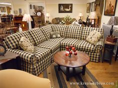 Mission impossible - you've found your black and mustard country check sectional sofa at last!