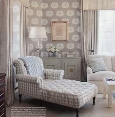 Tufted chaise in large gray and white checks from Hydrangea Hill Cottage: October 2011