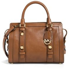 Women's Michael Michael Kors 'Medium Collins' Leather Satchel ($238) ❤ liked on Polyvore featuring bags, handbags, vintage purses, michael michael kors handbags, genuine leather handbags, brown satchel handbag and satchel handbags