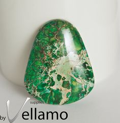 Green sea sediment jasper pendant bead focal by byvellamosupplies, $7.00