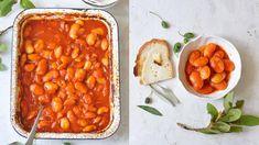 Pečené řecké fazole Mexican Food Recipes, Ethnic Recipes, Chana Masala, Chorizo, Grains, Brunch, Food And Drink, Vegetarian, Baking