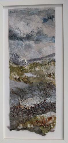 """After the rain"" marianjazmik.co.uk. #after #marianjazmik Felt Pictures, Fabric Pictures, Textile Fiber Art, Textile Artists, Felt Wall Hanging, Creative Textiles, Landscape Quilts, Felt Art, Texture Art"