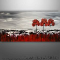 Abstract Painting, Art, Black Red White, Wall Art, Tree Art, Acrylic