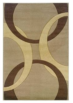 Linon Corfu Collection Tan and Brown Area Rug x Kids Area Rugs, Blue Area Rugs, Circle Pattern, Traditional Rugs, Indoor Rugs, Power Loom, Latex Free, Throw Rugs, Rug Making