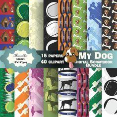 My Dog Digital Scrapbook Bundle - Digital Paper, Clip art, clipart Art Clipart, Clipart Images, 2 Color Combinations, 15 Dogs, Dog Bones, Dog Silhouette, Shop Logo, Paper Clip, 2 Colours