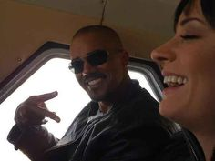 Shemar and Paget on the set