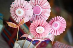 Cute as button baby shower, girl, decor. Can add these to the hair bow bouquet.