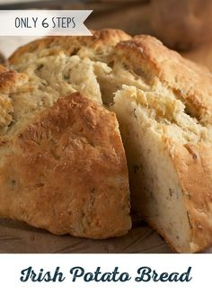A recipe straight from Ireland! This warm and fluffy Irish Potato Bread needs no time to rise, so you can spend less time cooking and more time savoring. Serve this crunchy soda bread with corned beef and cabbage and don't forget a frothy green beer!