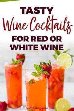 Tasty Wine Cocktails for Both Red and White Wine What's better than wine? Or cocktails? Making cocktails with wine is a brillia White Wine Cocktail, Red Wine Cocktails, Holiday Drinks, Wine Drinks, Cocktail Drinks, Alcoholic Drinks, Sparkling Wine, Beverage, Sangria Recipes