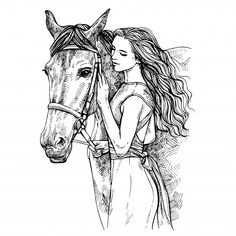 Sketch woman and horse. young woman caressing a horse. beauty with horse. Girly Drawings, Horse Drawings, Cool Art Drawings, Art Drawings Sketches, Animal Drawings, Cavalo Wallpaper, Horse Tattoo Design, Mode Poster, Horse Sketch