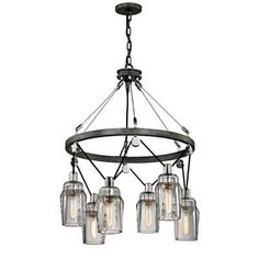 "Troy Lighting F5996 Citizen 6 Light 25"" Wide Chandelier with Glass Shades"