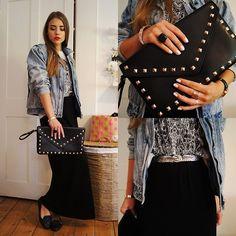 Vintage Denim Jacket, Primark Clutch, Vintage Eagel Belt, Vintage Skirt