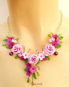 #Pink  #Roses  Floral necklace  Spring jewelry  by insoujewelry