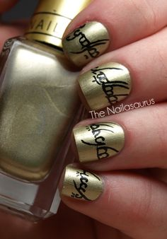 """One Ring Nail Art"" Oh wow! I'd have to get some special nail brushes (or get someone else to do it for me) but I'd love to have this on my nails. Even though I hate gold, this is just too awesome!"