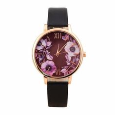 Elegant Rose Womens Watch Leather Wristband