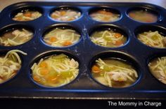 Just make any kind of soup for dinner and either freeze it all or freeze your left overs in muffin tins!