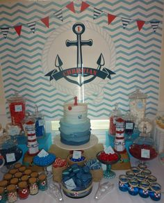 Nautical First Birthday candy Dessert table