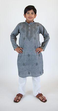 Boys Kurta Pajama in handloom embroidered cotton Boys Kurta, Marigold, Pajama Set, High Neck Dress, India, Cotton, Dresses, Fashion, Turtleneck Dress