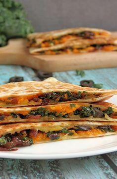 Kale & Sweet Potato Quesadillas | YummyAddiction.com
