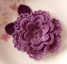 Hey, I found this really awesome Etsy listing at https://www.etsy.com/listing/114648147/crochet-flower-with-leaves-in-3-14