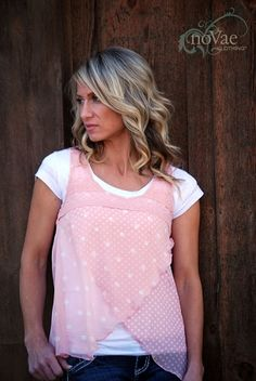 NEW! Polka Dot Overlay Lace Top!     Dusty Pink.  modest clothing