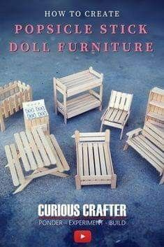 This video by Curious Crafter shows how to create 8 cute miniature dollhouse furniture pieces using popsicle sticks. This video by Curious Crafter shows how to create 8 cute miniature dollhouse furniture pieces using popsicle sticks.Begin Using These Tips Popsicle Stick Houses, Popsicle Crafts, Craft Stick Crafts, Craft Sticks, Popsicle House, Diy Projects With Popsicle Sticks, Craft Stick Projects, Pallet Projects, Popsicle Stick Bridges
